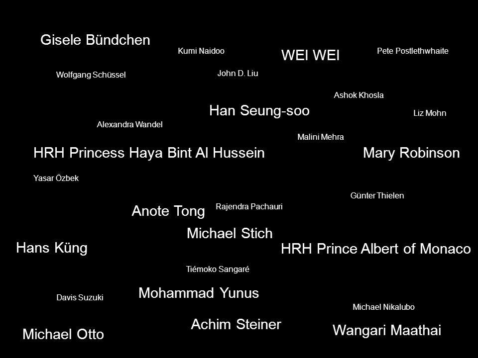 Gisele Bündchen WEI HRH Prince Albert of Monaco HRH Princess Haya Bint Al Hussein Hans Küng Achim Steiner Anote Tong Han Seung-soo Mary Robinson Alexa