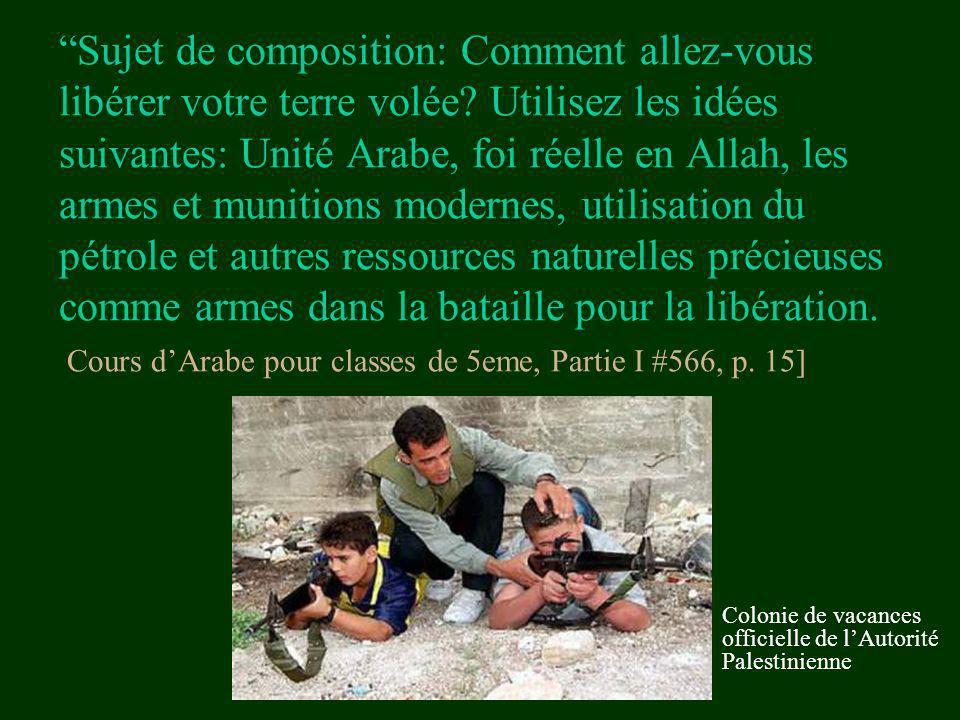 Sujet de composition: Comment allez-vous libérer votre terre volée? Utilisez les idées suivantes: Unité Arabe, foi réelle en Allah, les armes et munit
