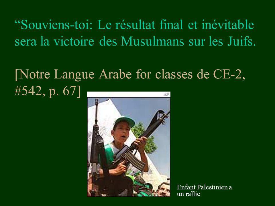 Souviens-toi: Le résultat final et inévitable sera la victoire des Musulmans sur les Juifs. [Notre Langue Arabe for classes de CE-2, #542, p. 67] Enfa