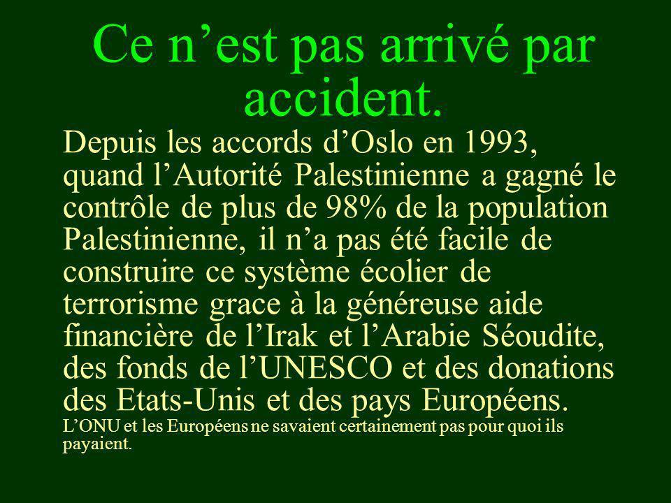 Ce nest pas arrivé par accident. Depuis les accords dOslo en 1993, quand lAutorité Palestinienne a gagné le contrôle de plus de 98% de la population P