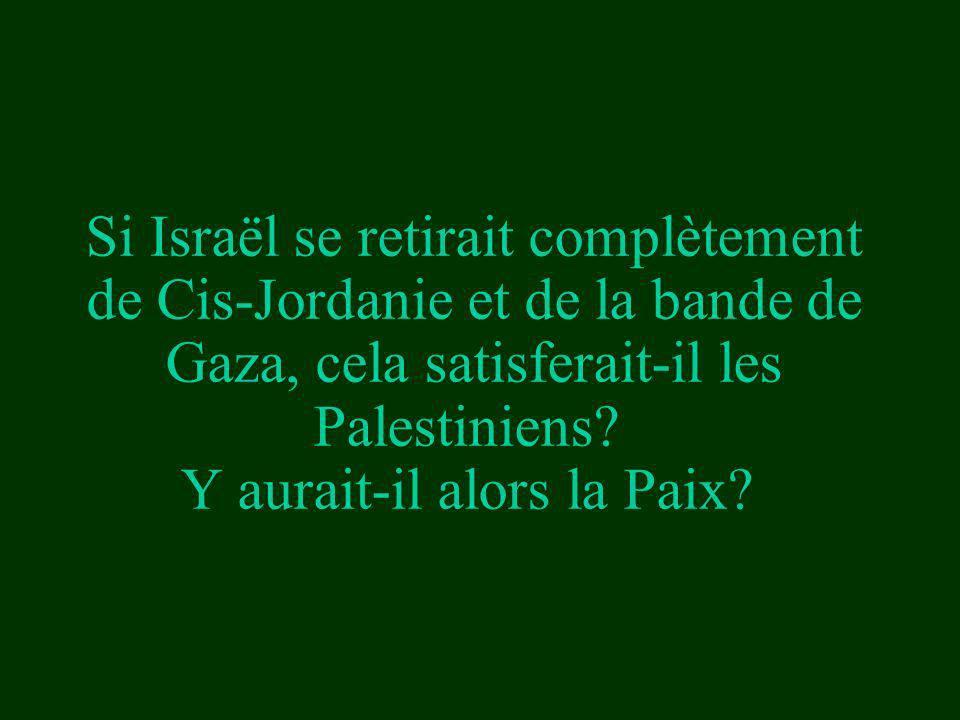 Si Israël se retirait complètement de Cis-Jordanie et de la bande de Gaza, cela satisferait-il les Palestiniens? Y aurait-il alors la Paix?
