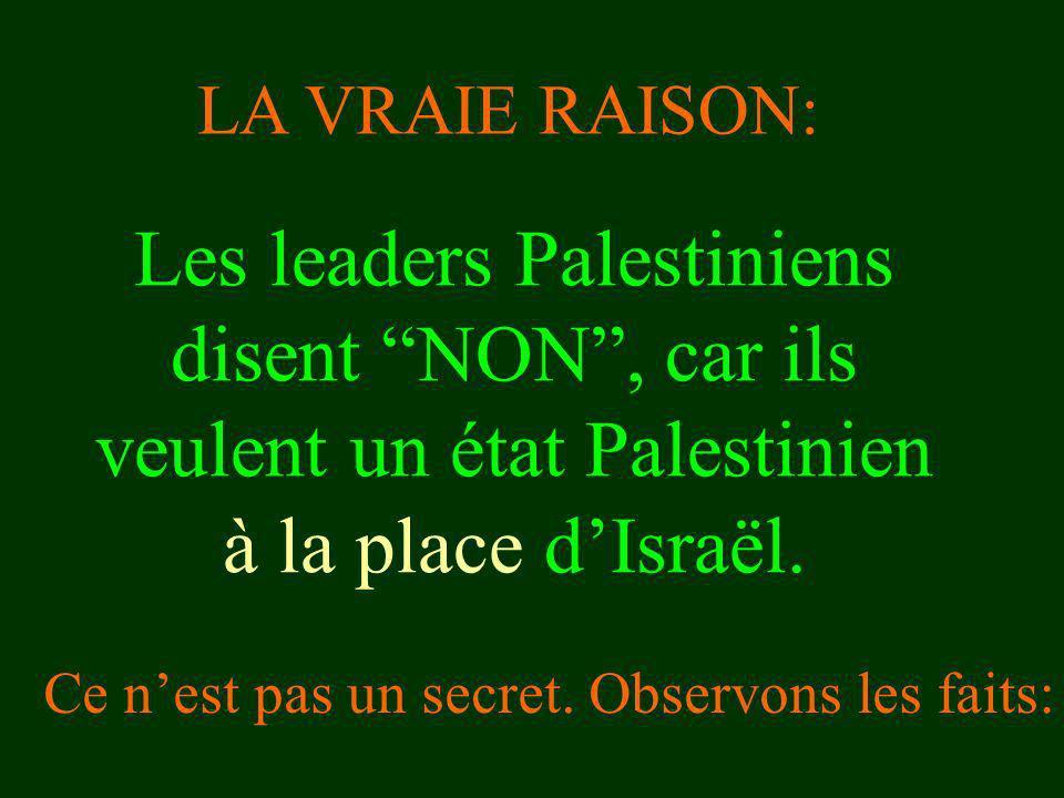 Les leaders Palestiniens disent NON, car ils veulent un état Palestinien à la place dIsraël. Ce nest pas un secret. Observons les faits: LA VRAIE RAIS