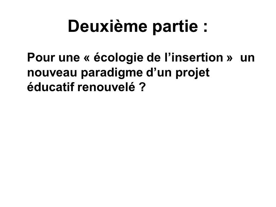 Deuxième partie : Pour une « écologie de linsertion » un nouveau paradigme dun projet éducatif renouvelé ?