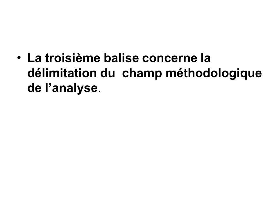 La troisième balise concerne la délimitation du champ méthodologique de lanalyse.