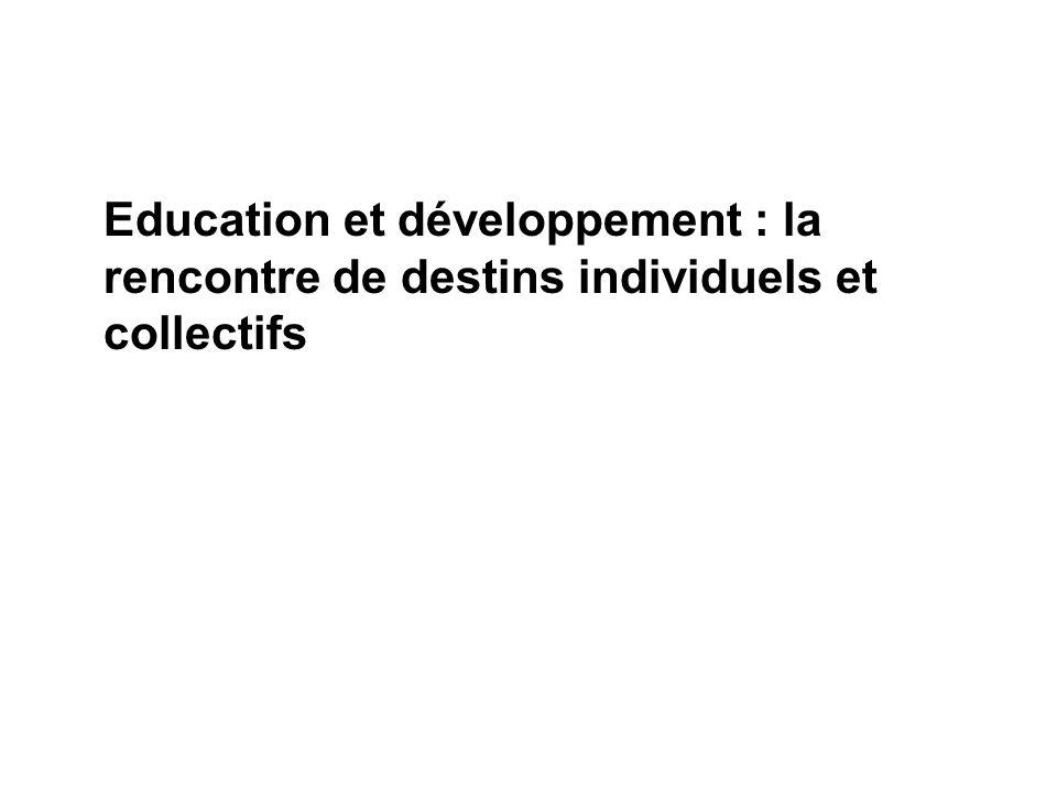 Education et développement : la rencontre de destins individuels et collectifs