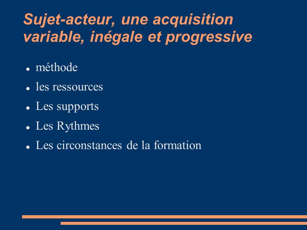 Sujet-acteur, une acquisition variable, inégale et progressive méthode les ressources Les supports Les Rythmes Les circonstances de la formation