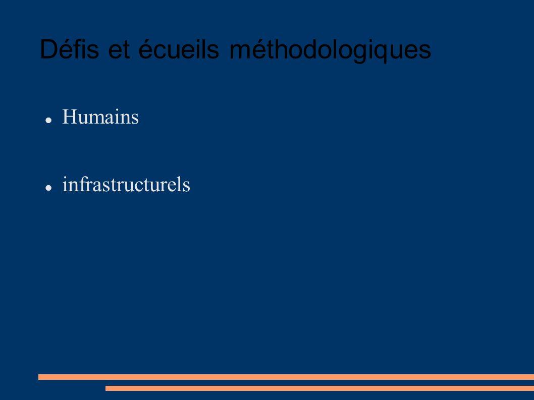 Défis et écueils méthodologiques Humains infrastructurels
