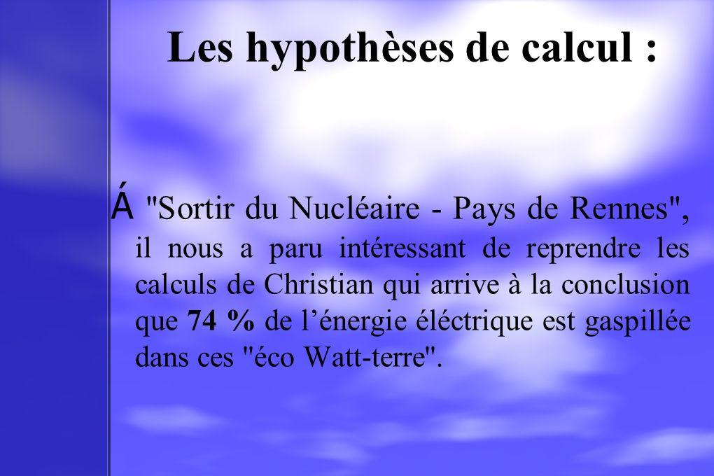 Les hypothèses de calcul : Á ''Sortir du Nucléaire - Pays de Rennes'', il nous a paru intéressant de reprendre les calculs de Christian qui arrive à l