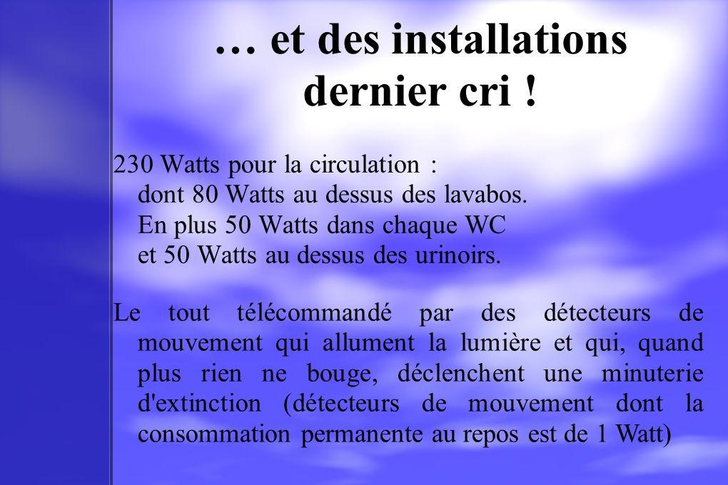 … et des installations dernier cri ! 230 Watts pour la circulation : dont 80 Watts au dessus des lavabos. En plus 50 Watts dans chaque WC et 50 Watts
