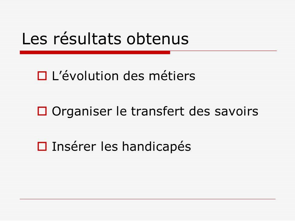 Les résultats obtenus Lévolution des métiers Organiser le transfert des savoirs Insérer les handicapés