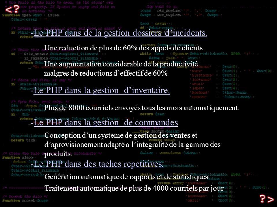 -Le PHP dans de la gestion dossiers dincidents. Une reduction de plus de 60% des appels de clients.
