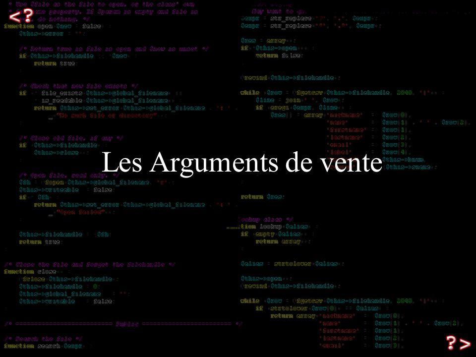 Les Arguments de vente Les arguments de vente