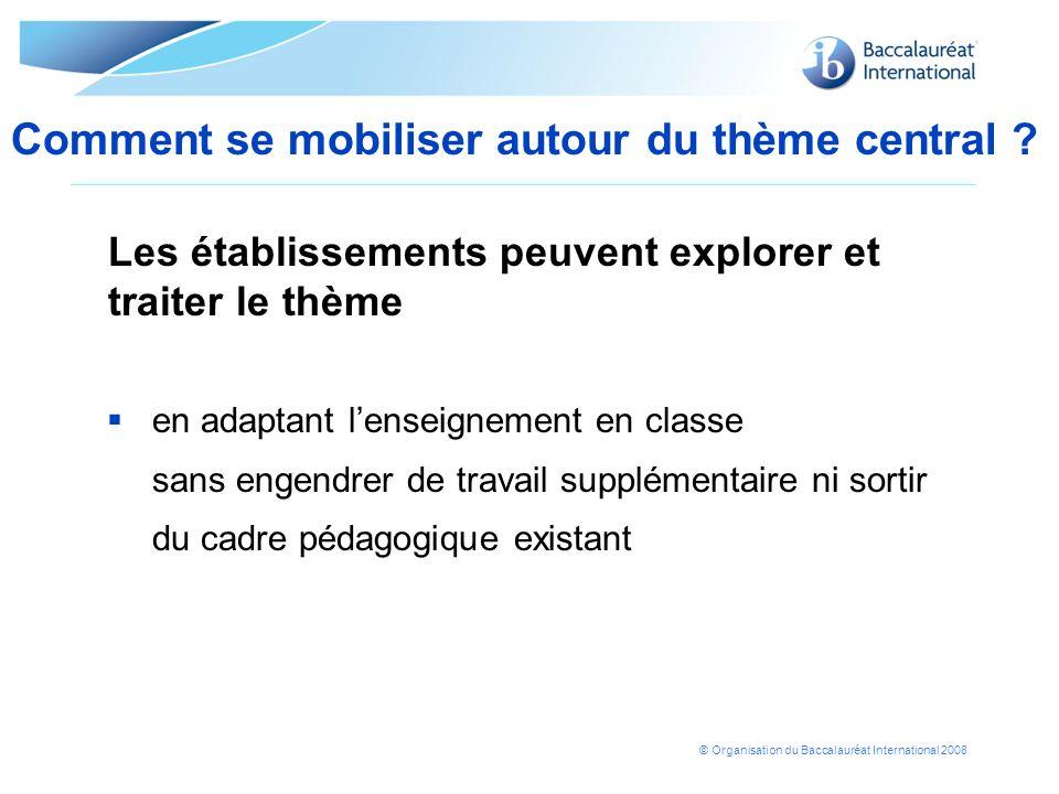 © Organisation du Baccalauréat International 2008 en adaptant lenseignement en classe sans engendrer de travail supplémentaire ni sortir du cadre péda