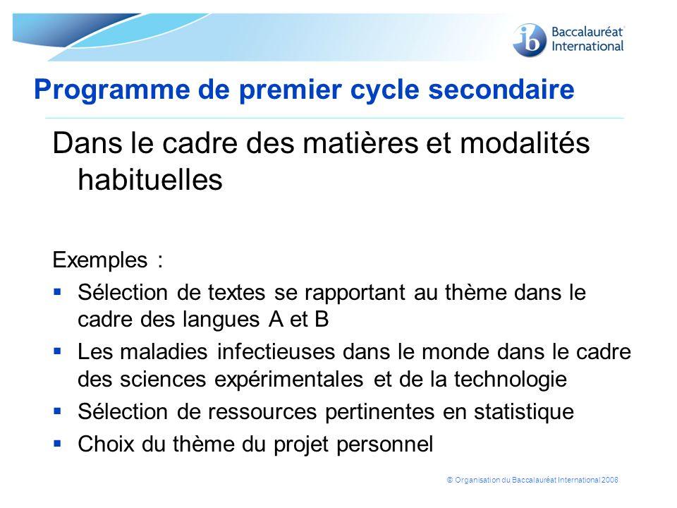 © Organisation du Baccalauréat International 2008 Dans le cadre des matières et modalités habituelles Exemples : Sélection de textes se rapportant au