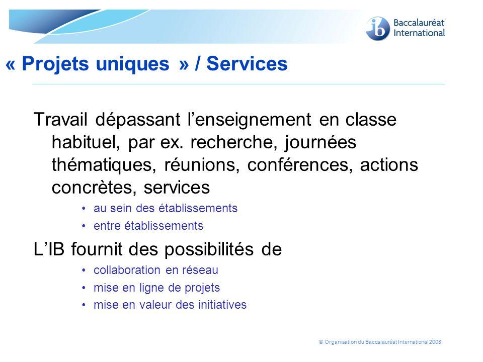 © Organisation du Baccalauréat International 2008 Travail dépassant lenseignement en classe habituel, par ex. recherche, journées thématiques, réunion