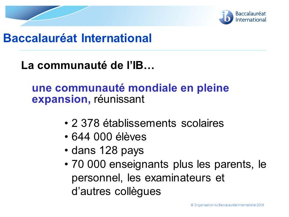 © Organisation du Baccalauréat International 2008 La communauté de lIB… une communauté mondiale en pleine expansion, réunissant 2 378 établissements s