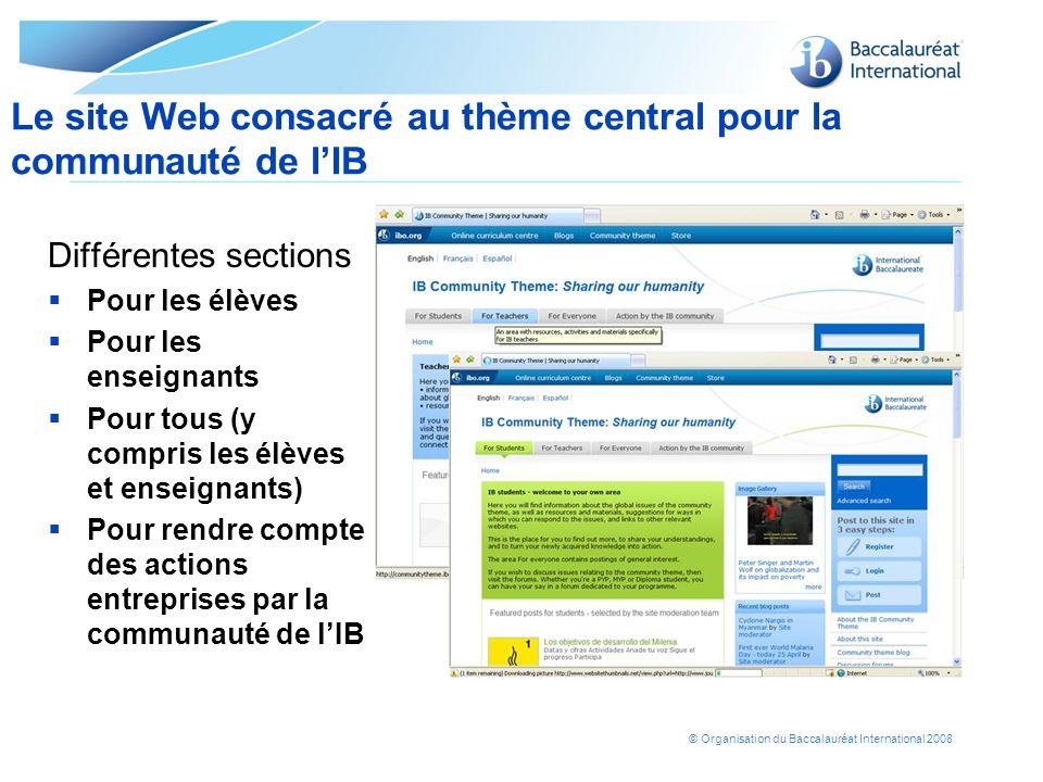 © Organisation du Baccalauréat International 2008 Différentes sections Pour les élèves Pour les enseignants Pour tous (y compris les élèves et enseign