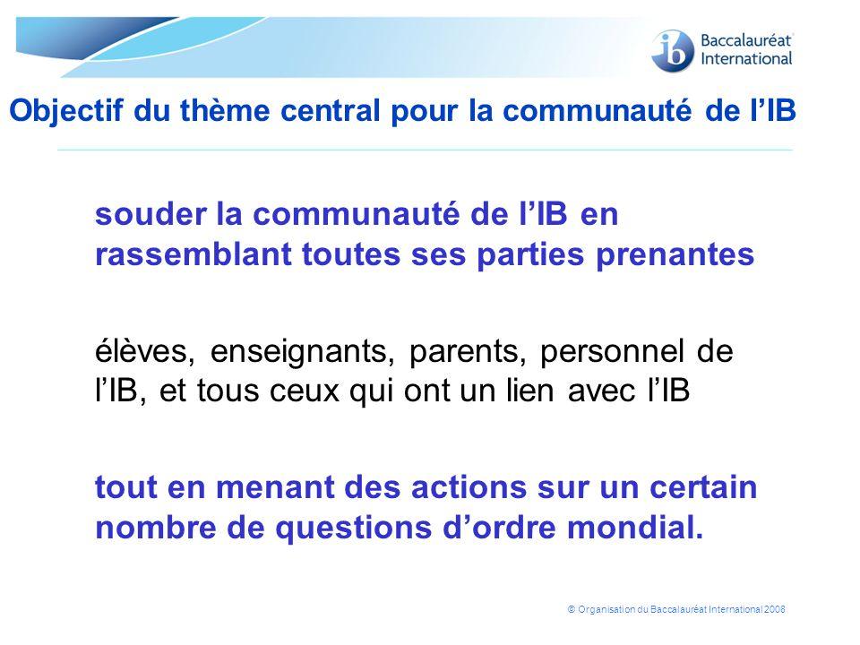 © Organisation du Baccalauréat International 2008 Un espace virtuel consacré au thème central pour la communauté et destiné aux élèves, enseignants, parents, au personnel de lIB et aux autres interlocuteurs.