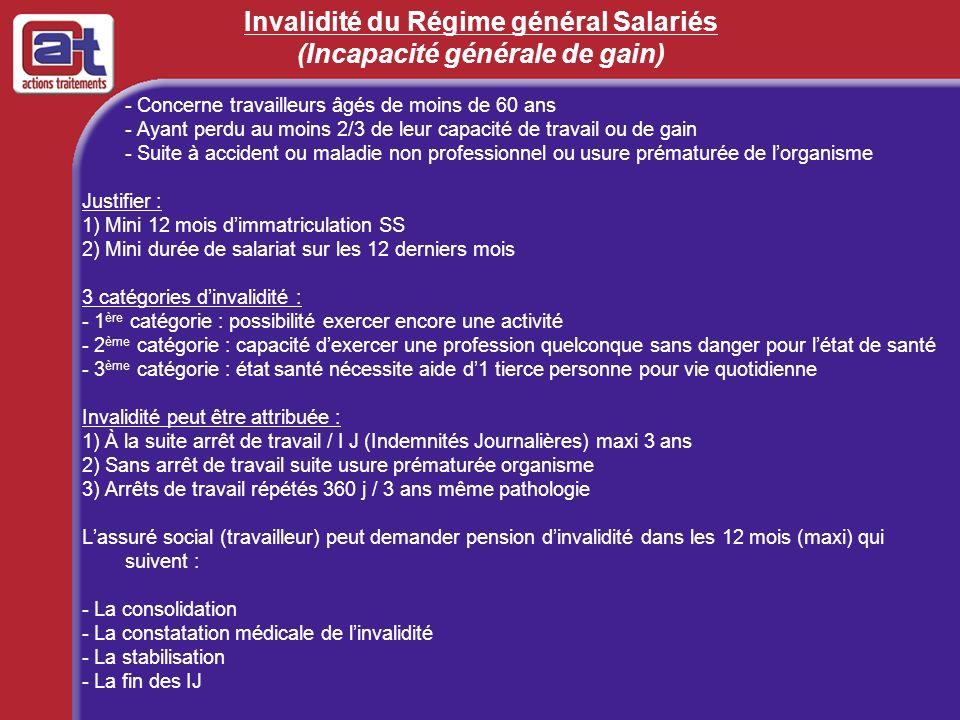 Invalidité du Régime général Salariés (Incapacité générale de gain) - Concerne travailleurs âgés de moins de 60 ans - Ayant perdu au moins 2/3 de leur