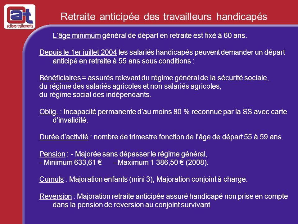 Retraite anticipée des travailleurs handicapés Lâge minimum général de départ en retraite est fixé à 60 ans. Depuis le 1er juillet 2004 les salariés h