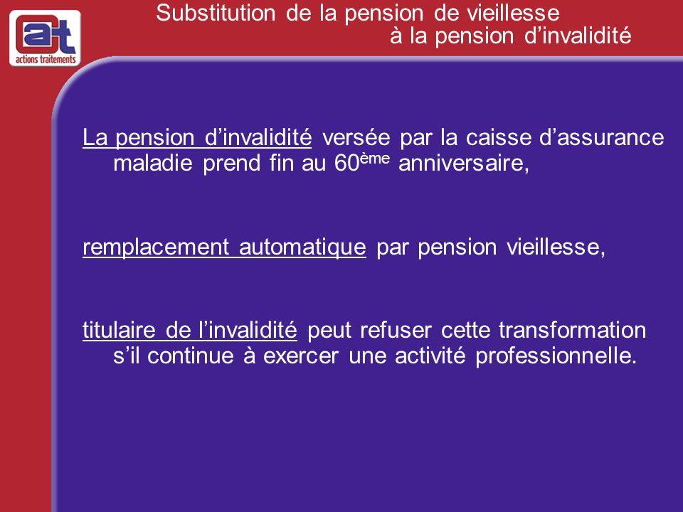 Substitution de la pension de vieillesse à la pension dinvalidité La pension dinvalidité versée par la caisse dassurance maladie prend fin au 60 ème a