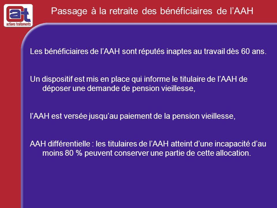 Passage à la retraite des bénéficiaires de lAAH Les bénéficiaires de lAAH sont réputés inaptes au travail dès 60 ans. Un dispositif est mis en place q