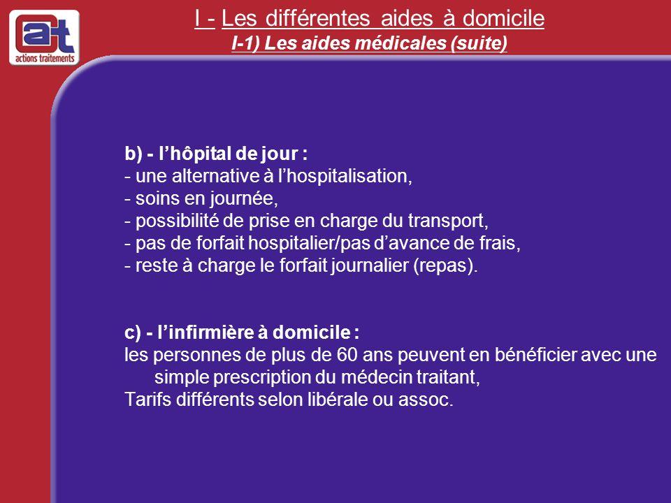 I - Les différentes aides à domicile I-1) Les aides médicales (suite) b) - lhôpital de jour : - une alternative à lhospitalisation, - soins en journée