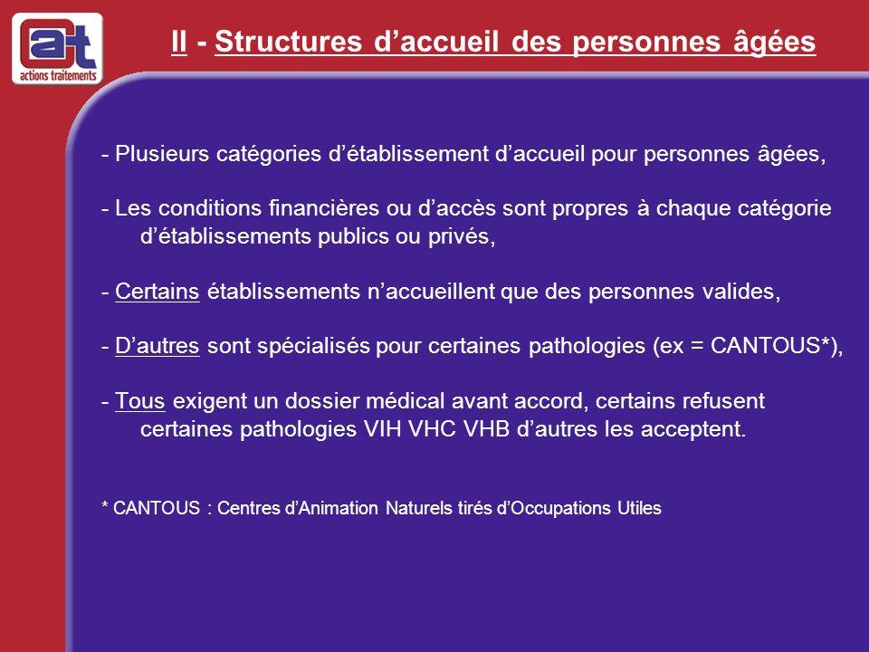 II - Structures daccueil des personnes âgées - Plusieurs catégories détablissement daccueil pour personnes âgées, - Les conditions financières ou dacc