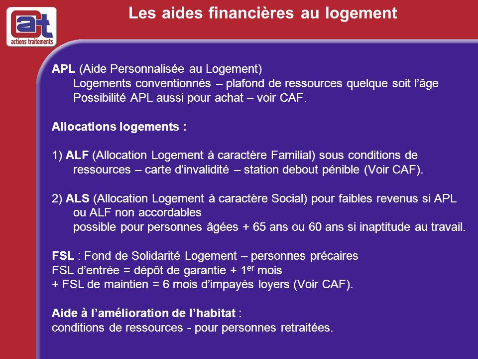 Les aides financières au logement APL (Aide Personnalisée au Logement) Logements conventionnés – plafond de ressources quelque soit lâge Possibilité A