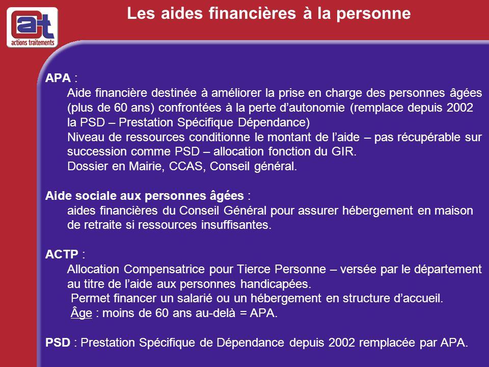 Les aides financières à la personne APA : Aide financière destinée à améliorer la prise en charge des personnes âgées (plus de 60 ans) confrontées à l