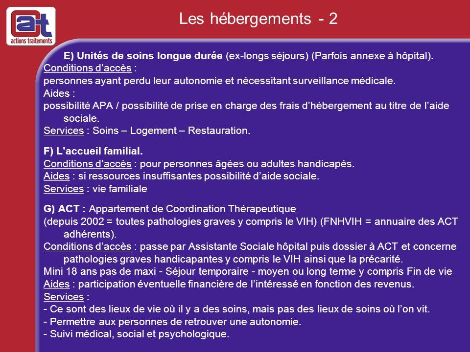 Les hébergements - 2 E) Unités de soins longue durée (ex-longs séjours) (Parfois annexe à hôpital). Conditions daccès : personnes ayant perdu leur aut