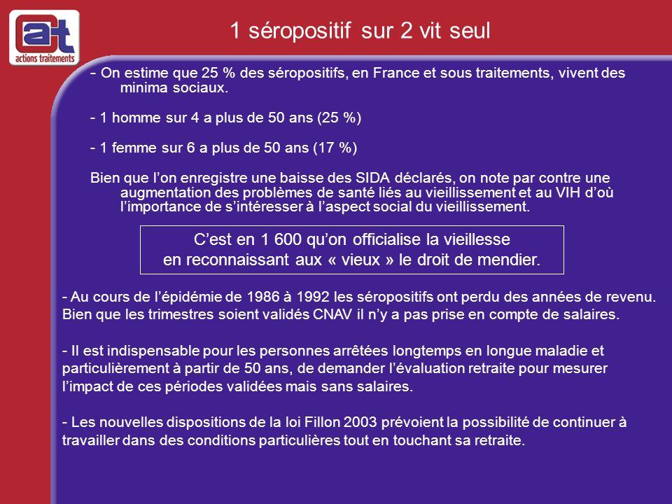 - On estime que 25 % des séropositifs, en France et sous traitements, vivent des minima sociaux. - 1 homme sur 4 a plus de 50 ans (25 %) - 1 femme sur
