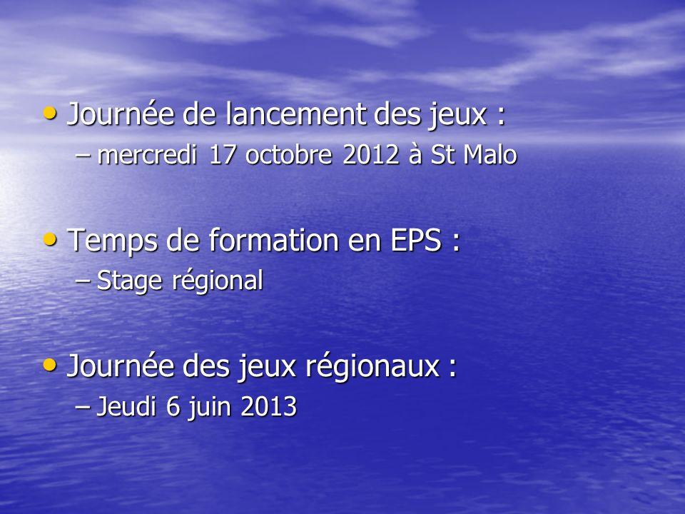 Journée de lancement des jeux : Journée de lancement des jeux : –mercredi 17 octobre 2012 à St Malo Temps de formation en EPS : Temps de formation en