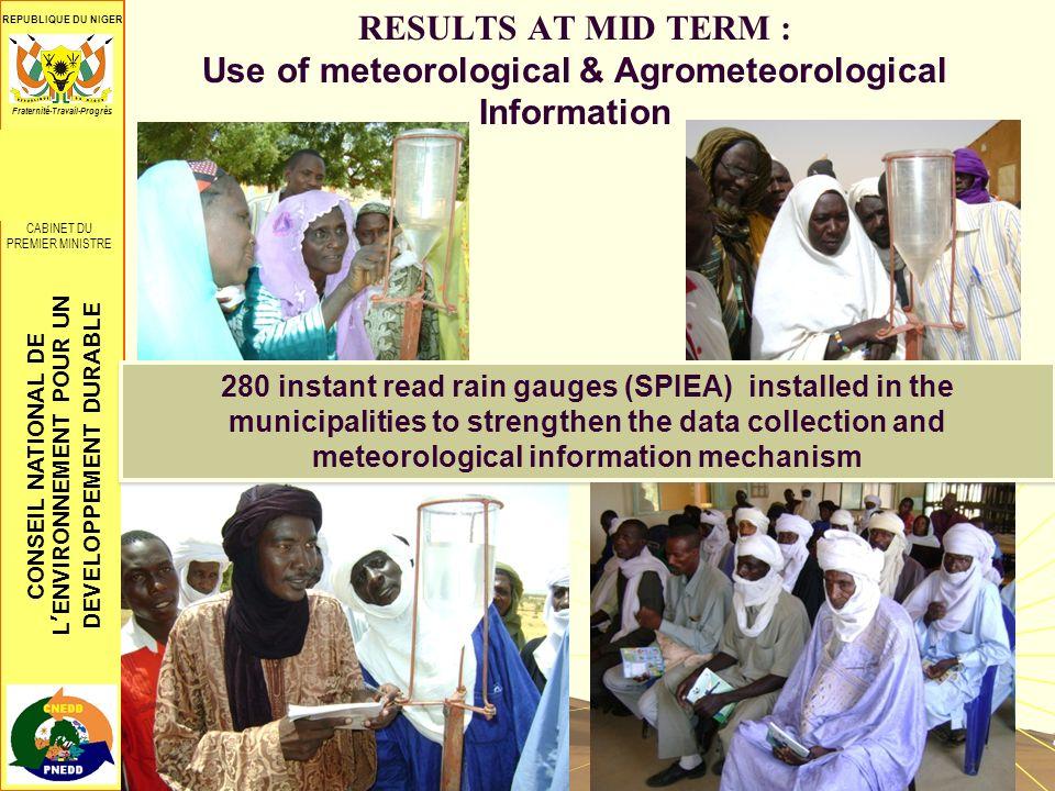 CONSEIL NATIONAL DE LENVIRONNEMENT POUR UN DEVELOPPEMENT DURABLE REPUBLIQUE DU NIGER CONSEIL SUPREME POUR LA RESTAURATION DE LA DEMOCRATIE ************** CABINET DU PREMIER MINISTRE Fraternité-Travail-Progrès RESULTS AT MID TERM : Use of meteorological & Agrometeorological Information 280 instant read rain gauges (SPIEA) installed in the municipalities to strengthen the data collection and meteorological information mechanism