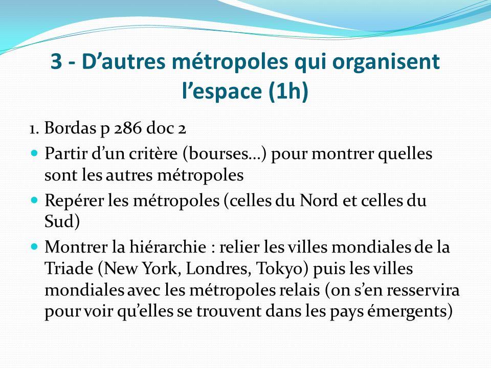3 - Dautres métropoles qui organisent lespace (1h) 1. Bordas p 286 doc 2 Partir dun critère (bourses…) pour montrer quelles sont les autres métropoles
