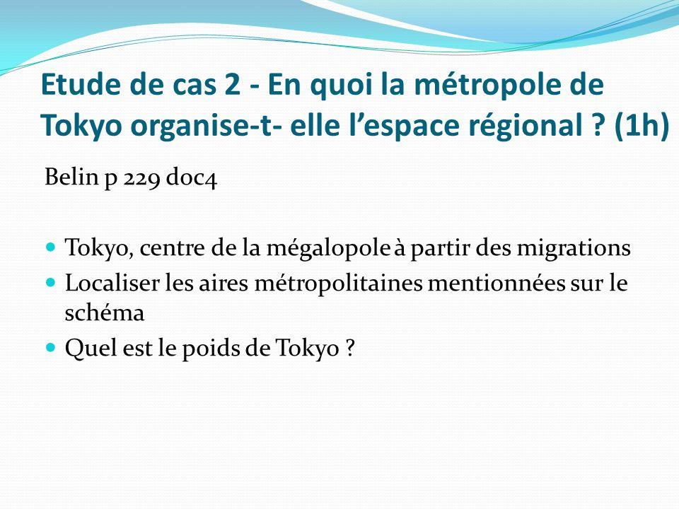 Etude de cas 2 - En quoi la métropole de Tokyo organise-t- elle lespace régional ? (1h) Belin p 229 doc4 Tokyo, centre de la mégalopole à partir des m