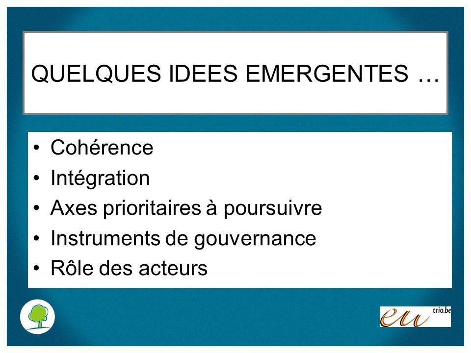 QUELQUES IDEES EMERGENTES … Cohérence Intégration Axes prioritaires à poursuivre Instruments de gouvernance Rôle des acteurs