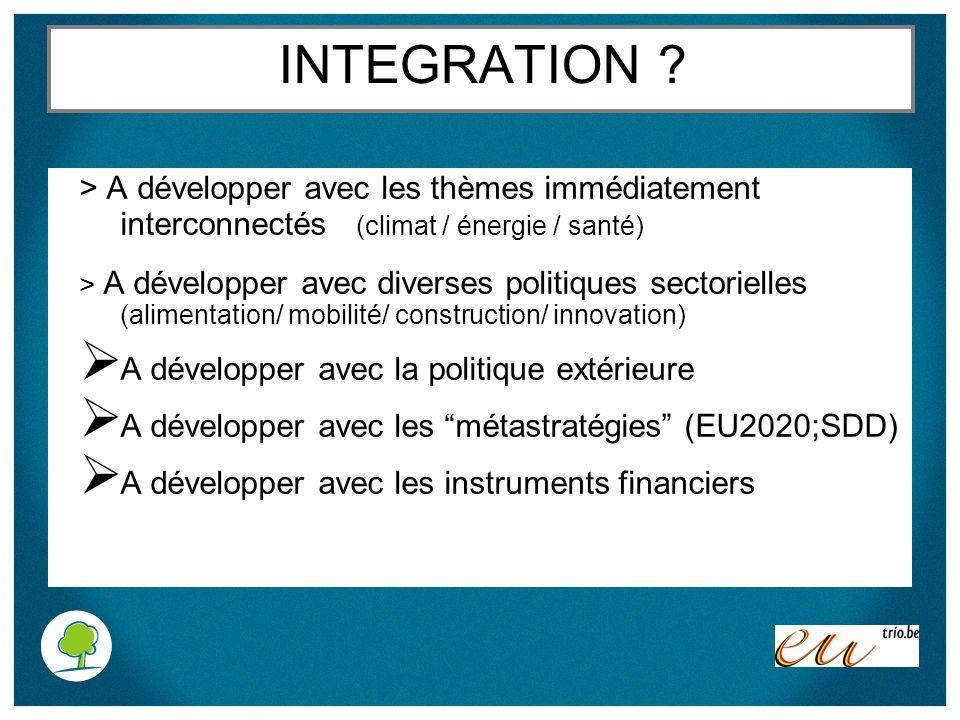 INTEGRATION ? > A développer avec les thèmes immédiatement interconnectés (climat / énergie / santé) > A développer avec diverses politiques sectoriel