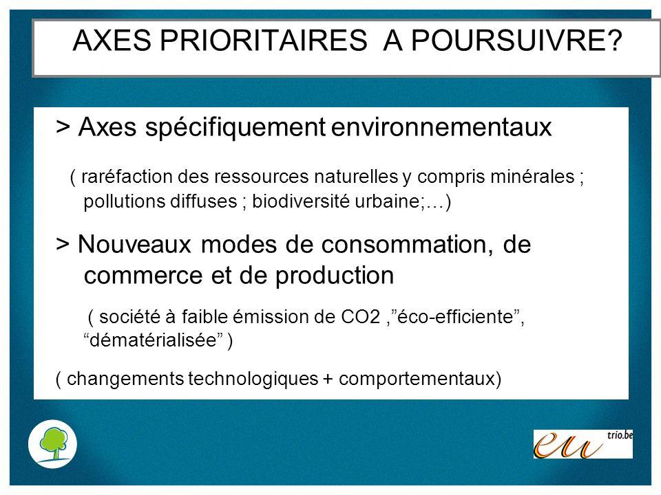 AXES PRIORITAIRES A POURSUIVRE? > Axes spécifiquement environnementaux ( raréfaction des ressources naturelles y compris minérales ; pollutions diffus