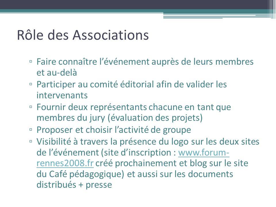 Rôle des Associations Faire connaître lévénement auprès de leurs membres et au-delà Participer au comité éditorial afin de valider les intervenants Fo