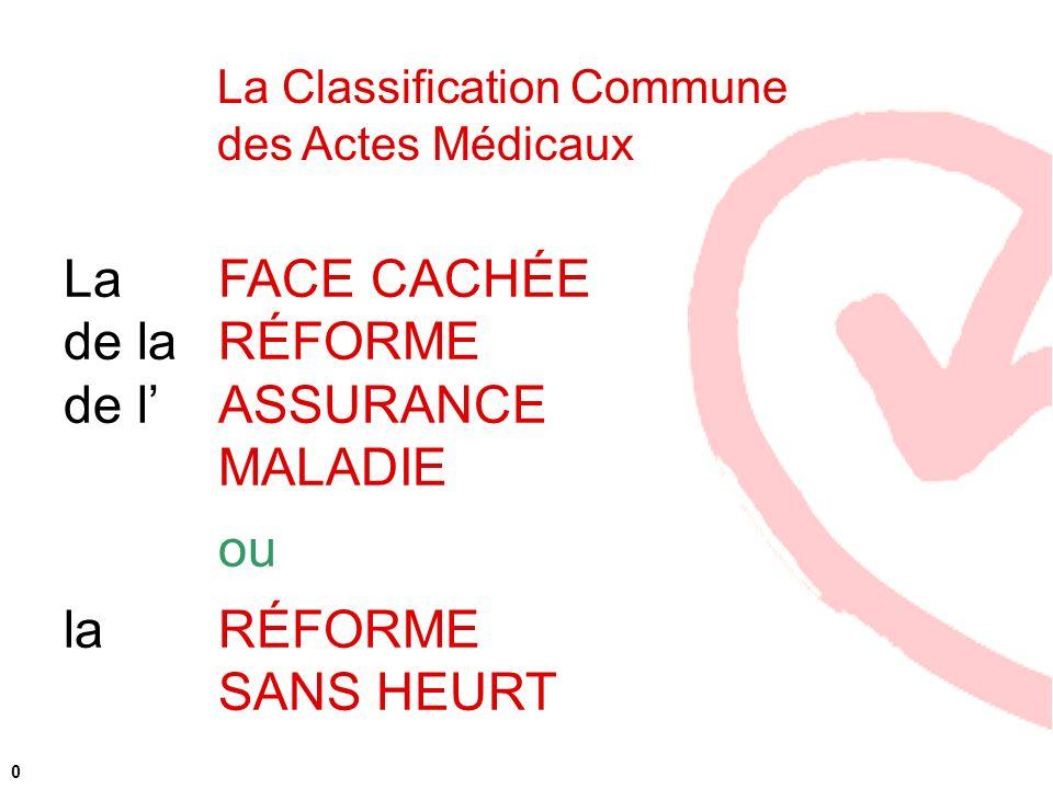 La Classification Commune des Actes Médicaux f 0 La FACE CACHÉE de laRÉFORME de lASSURANCE MALADIE ou la RÉFORME SANS HEURT