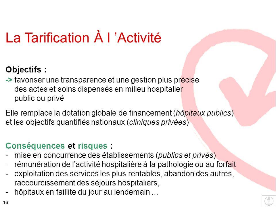 La Tarification À l Activité Objectifs : ->favoriser une transparence et une gestion plus précise des actes et soins dispensés en milieu hospitalier p