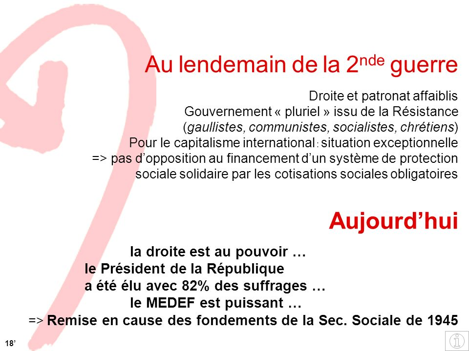 Au lendemain de la 2 nde guerre Droite et patronat affaiblis Gouvernement « pluriel » issu de la Résistance (gaullistes, communistes, socialistes, chr