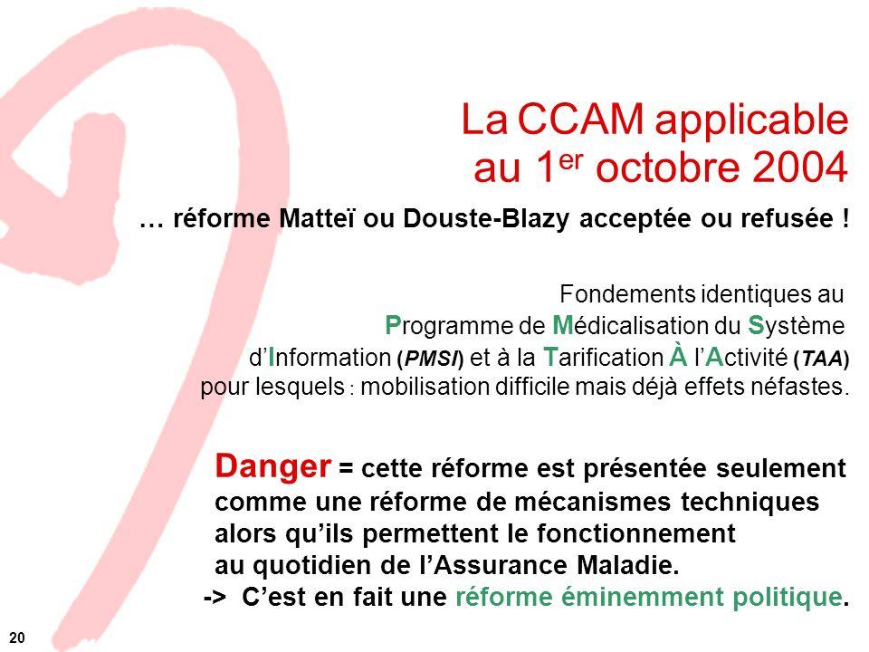 La CCAM applicable au 1 er octobre 2004 … réforme Matteï ou Douste-Blazy acceptée ou refusée ! Fondements identiques au P rogramme de M édicalisation