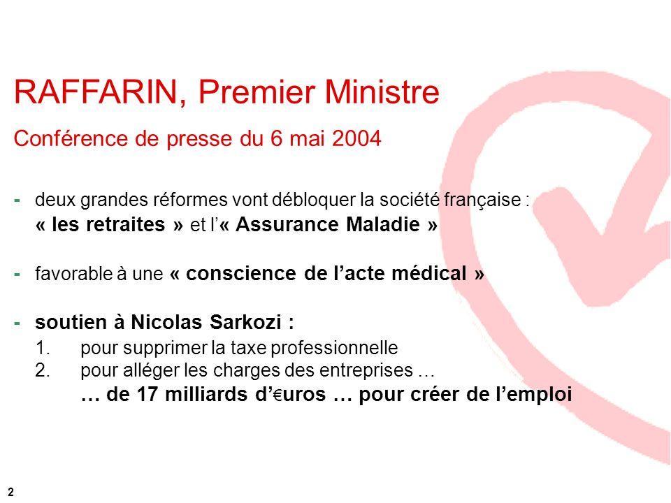 2 RAFFARIN, Premier Ministre Conférence de presse du 6 mai 2004 - deux grandes réformes vont débloquer la société française : « les retraites » et l «