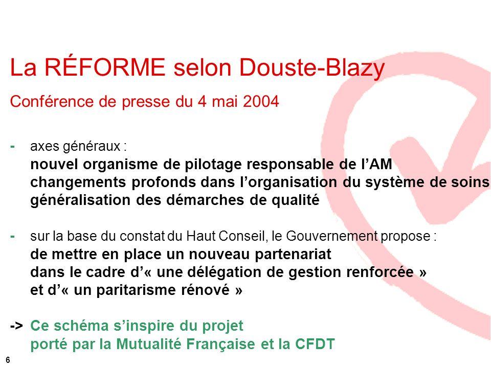 6 La RÉFORME selon Douste-Blazy Conférence de presse du 4 mai 2004 - axes généraux : nouvel organisme de pilotage responsable de lAM changements profo