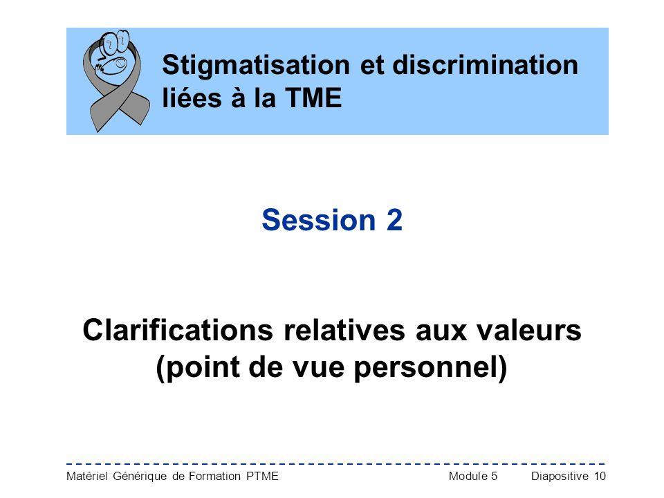 Matériel Générique de Formation PTME Module 5Diapositive 10 Stigmatisation et discrimination liées à la TME Session 2 Clarifications relatives aux val
