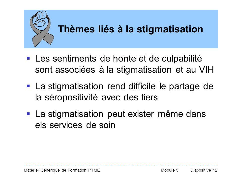 Matériel Générique de Formation PTME Module 5Diapositive 12 Thèmes liés à la stigmatisation Les sentiments de honte et de culpabilité sont associées à