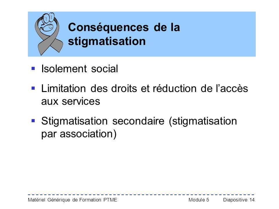Matériel Générique de Formation PTME Module 5Diapositive 14 Conséquences de la stigmatisation Isolement social Limitation des droits et réduction de l