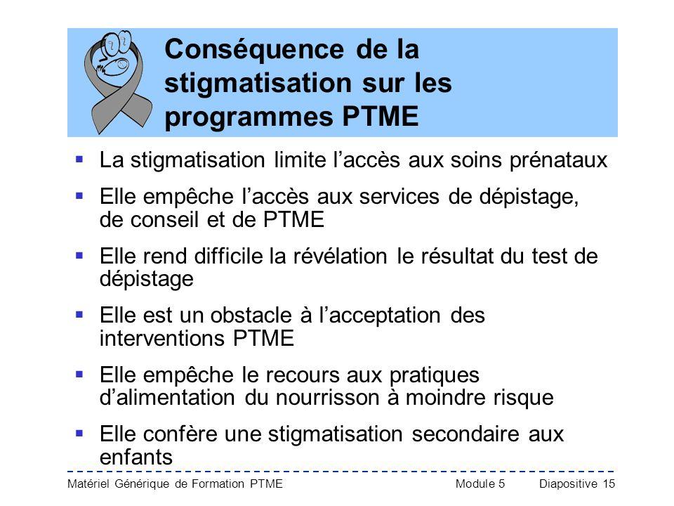 Matériel Générique de Formation PTME Module 5Diapositive 15 Conséquence de la stigmatisation sur les programmes PTME La stigmatisation limite laccès a